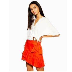 Red linen wrap mini skirt